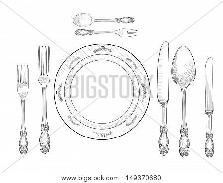 Table setting set. Fork Knife Spoon plate sketch set. Cutlery hand drawing collection. Catering engraved vector illustration. Restraunt service. Banquet still life