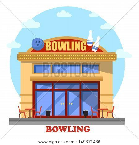 Bowling club outdoor exterior panorama view. House facade or district building, urban structure or city construction for indoor sport leisure and active hobby, recreation for throwing ball game