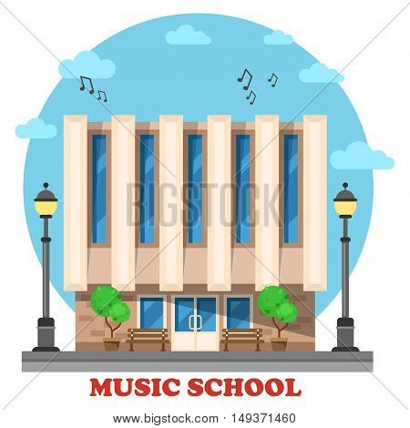 Music school or college, conservatory building. Facade of construction outdoor exterior view for musicianship, museology, vocational university. Architecture for travel landmarks and social institution