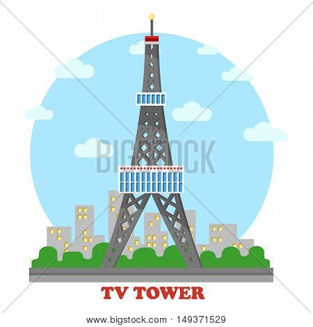 TV station and radio mast and tower for television. Telephone antenna for communication through wave or wireless network. Transmitter for broadcasting information for telecommunication