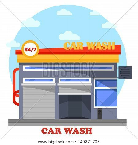 Car wash architecture front view of facade. Automobile or transport, vehicle cleaning facility that is self-serve or automated for drivers. Front exterior outdoor view on building or structure