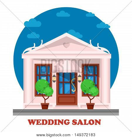 Wedding salon for marriage ceremony building. Tradition of matrimony or wedlock, espousal or nuptial, bridal or remarriage. Husband and wife place for celebration. Male, female couple theme