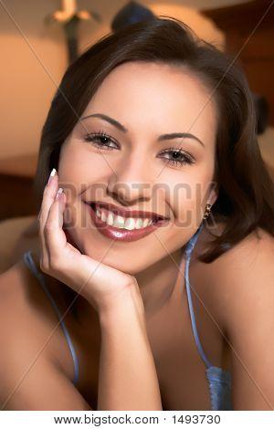 Pretty Brunette Model Headshot In Lingerie