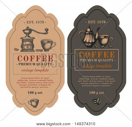 Packaging design for coffee. Black coffee latte cappuccino hand drawn retro vintage vector illustration