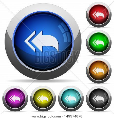 Set of round glossy reply to all buttons. Arranged layer structure.