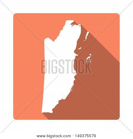 Vector Belize Map Button. Long Shadow Style Belize Map Square Icon Isolated On White Background. Fla