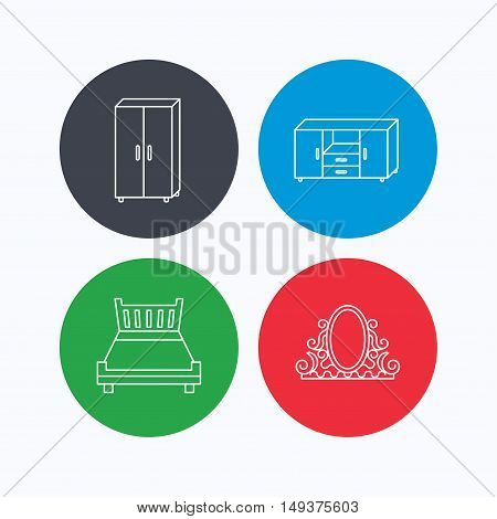 Double bed, vintage mirror and cupboard icons. Chest of drawers linear sign. Linear icons on colored buttons. Flat web symbols. Vector