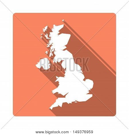 Vector United Kingdom Map Button. Long Shadow Style United Kingdom Map Square Icon Isolated On White
