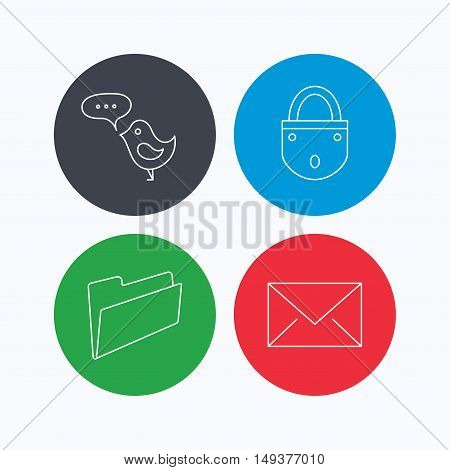 Lock, folder hand and e-mail icons. Bird message linear sign. Linear icons on colored buttons. Flat web symbols. Vector