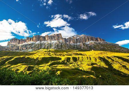 View to Sass Pordoi massive in Dolomites Italy Europe