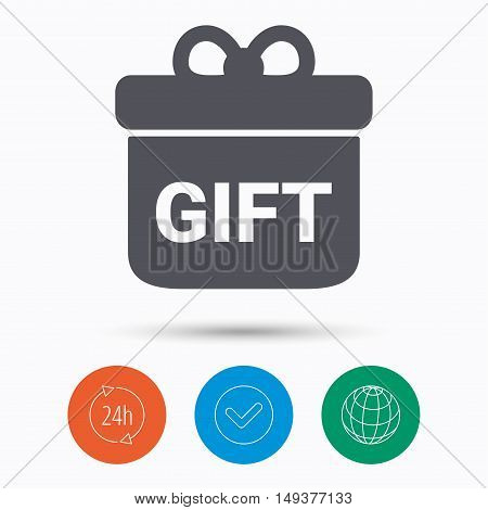 Gift icon. Present box with bow symbol. Check tick, 24 hours service and internet globe. Linear icons on white background. Vector