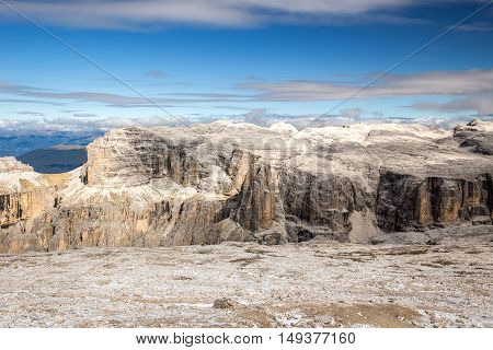 Majestic view from the top of Sass Pordoi Dolomites Italy Europe