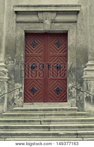 Detail of an old church or castle door. Old wooden door