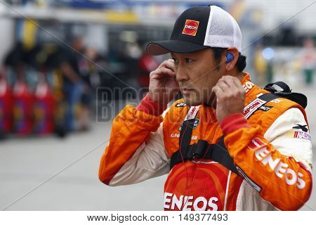Loudon, NH - Sep 23, 2016: Akinori Ogata (63) hangs out in the garage during practice for the UNOH 175 at the New Hampshire Motor Speedway  in Loudon, NH.