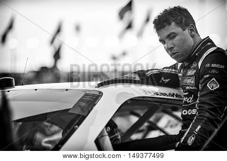 Sparta, KY - Sep 23, 2016: Darrell Wallace Jr., driver of the #6 Bleacher Report Ford, gets ready for action  during the VisitMyrtleBeach.com 300 weekend at the Kentucky Speedway in Sparta, KY.