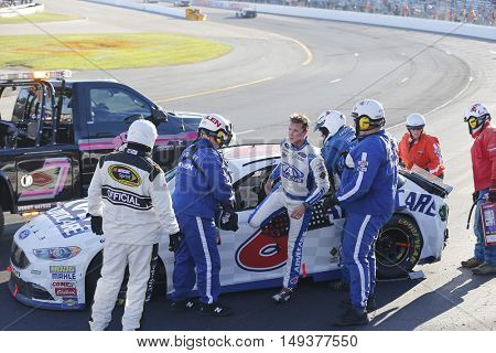 Loudon, NH - Sep 25, 2016: Trevor Bayne (6) wrecks off turn four during the Bad Boy Off Road 300 at the New Hampshire Motor Speedway in Loudon, NH.