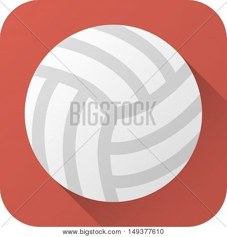 Vector illustration. Toy leather volleyball ball in flat design with long shadow. Square shape icon in simple design. Icon vector size 1024 corner radius 180