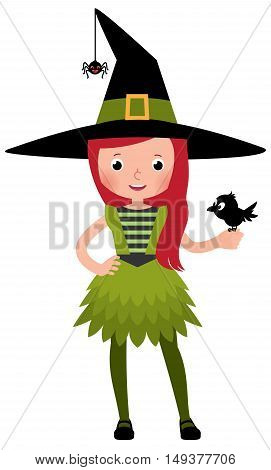 Little girl in a druid witch costume with a crow in the hand Stock Vector cartoon illustration