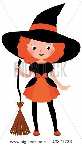 Little red haired girl with a broom in Halloween witch costume on a white background Stock vector cartoon illustration