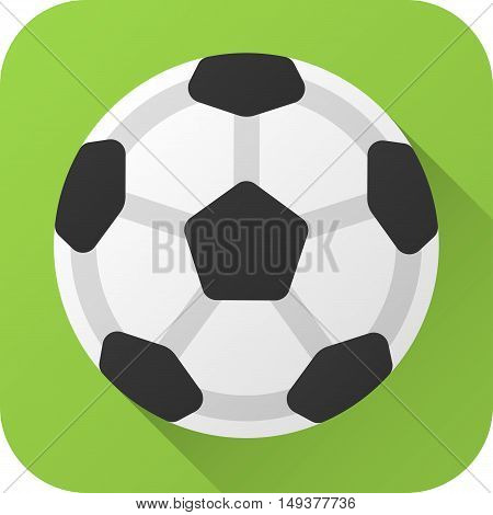 Vector illustration. Toy leather black and white soccer ball in flat design with long shadow. Square shape icon in simple design. Icon vector size 1024 corner radius 180