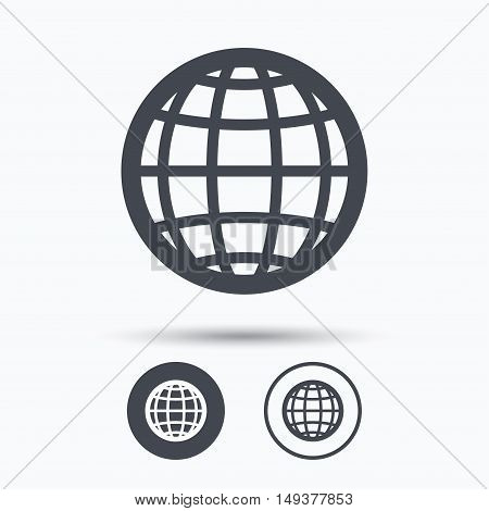 Globe icon. World or internet symbol. Circle buttons with flat web icon on white background. Vector