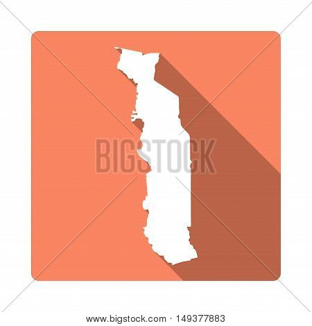 Vector Togo Map Button. Long Shadow Style Togo Map Square Icon Isolated On White Background. Flat Or