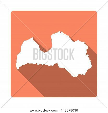 Vector Latvia Map Button. Long Shadow Style Latvia Map Square Icon Isolated On White Background. Fla