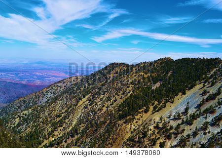 Mountains with the Mojave Desert beyond taken in Mt Baldy, CA