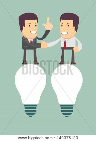 Businessmen handshaking after successful business meeting, negotiation. Stock vector illustration