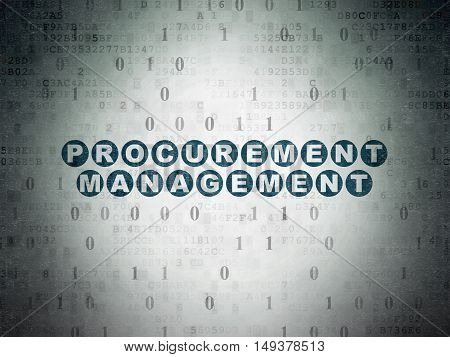 Finance concept: Painted blue text Procurement Management on Digital Data Paper background with Binary Code