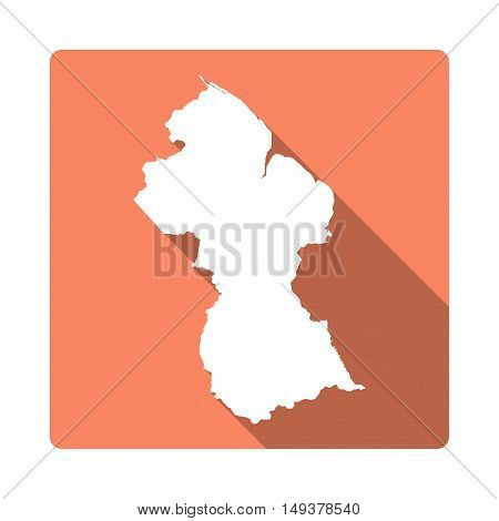Vector Guyana Map Button. Long Shadow Style Guyana Map Square Icon Isolated On White Background. Fla