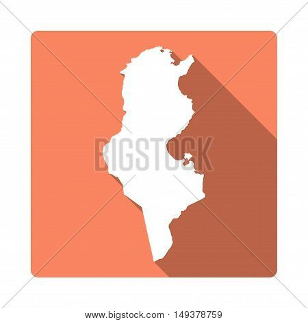 Vector Tunisia Map Button. Long Shadow Style Tunisia Map Square Icon Isolated On White Background. F