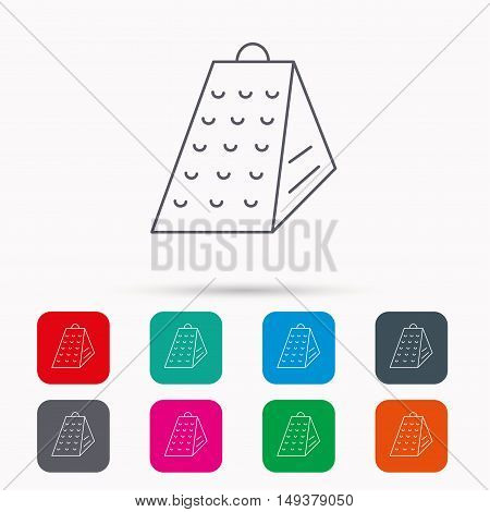 Grater icon. Kitchen tool sign. Kitchenware slicer symbol. Linear icons in squares on white background. Flat web symbols. Vector