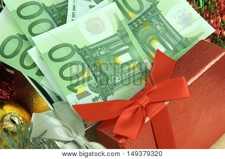 Christmas and New Year is time to spend money gift with money  one hundred Euro bank