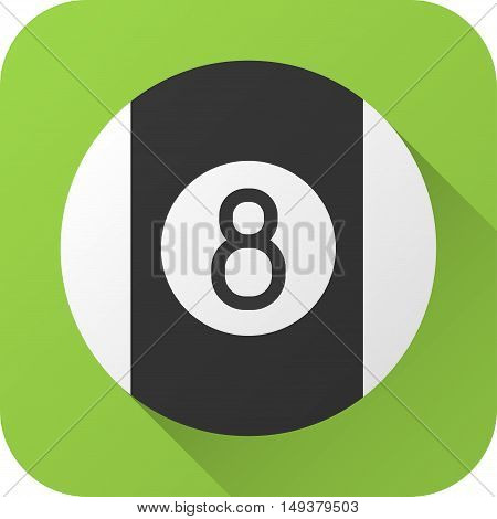 Vector illustration. Toy billiard ball in flat design with long shadow. Square shape icon in simple design. Icon vector size 1024 corner radius 180