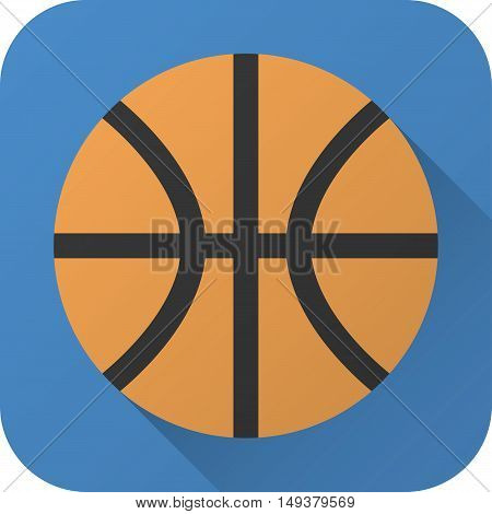 Vector illustration. Toy basketball ball in flat design with long shadow. Square shape icon in simple design. Icon vector size 1024 corner radius 180