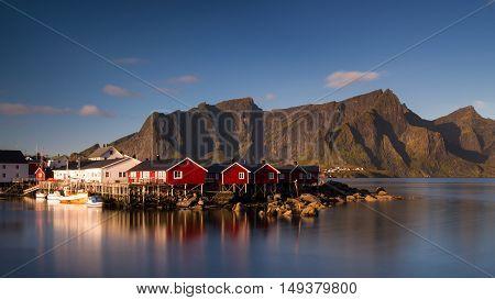 Fishing village Hamnoy under a blue sky - Long exposure version Lofoten Norway