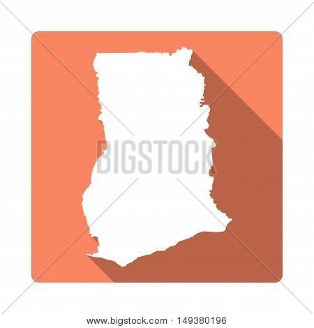 Vector Ghana Map Button. Long Shadow Style Ghana Map Square Icon Isolated On White Background. Flat