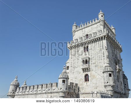 Belem Tower is a fortified tower located in the civil parish of Santa Maria de Belem in Lisbon Portugal