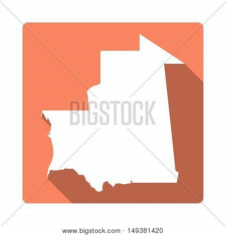 Vector Mauritania Map Button. Long Shadow Style Mauritania Map Square Icon Isolated On White Backgro