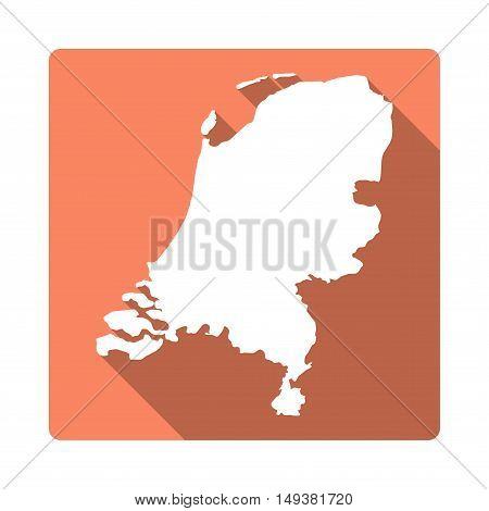 Vector Netherlands Map Button. Long Shadow Style Netherlands Map Square Icon Isolated On White Backg