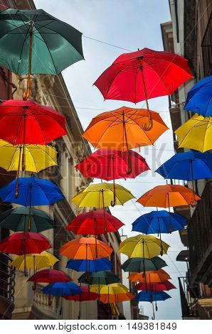 Street Decorated With Colored Umbrellas.