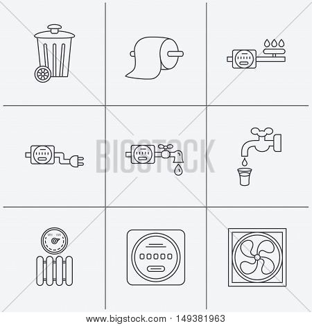 Ventilation, radiator and water counter icons. Toiler paper, gas and electricity counters linear signs. Trash icon. Linear icons on white background. Vector