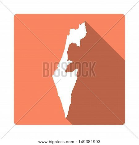 Vector Israel Map Button. Long Shadow Style Israel Map Square Icon Isolated On White Background. Fla