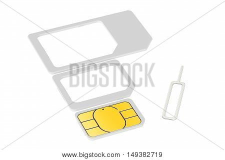 Mini micro nano sim cards with eject pin. 3D rendering isolated on white background