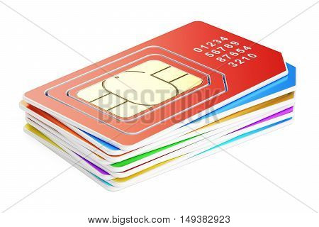 set of SIM cards 3D rendering isolated on white background
