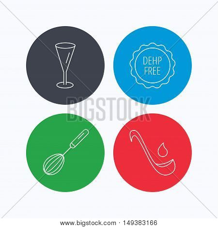 Soup ladle, glass and whisk icons. DEHP free linear sign. Linear icons on colored buttons. Flat web symbols. Vector