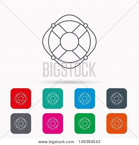 Lifebuoy with rope icon. Lifebelt sos sign. Lifesaver help equipment symbol. Linear icons in squares on white background. Flat web symbols. Vector