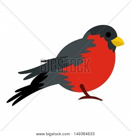 Bird with red plumage icon in flat style isolated on white background. Fly symbol vector illustration