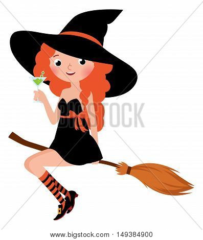 Halloween witch on a broomstick drinks cocktail Stock cartoon vector illustration
